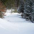 One of the easier groomed ski trails.- Smuggler's Notch Nordic Center