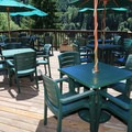 The outside dining area at the Loon Lake Lodge.- Loon Lake Waterfront House