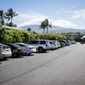 The public parking area for Kikaua Point.- Kikaua Point Park + Beach