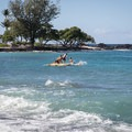 Resort guests enjoy a floating stage off of Kuki'o Beach.- Kuki'o Beach