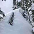 A cornice on the trail to Pratt Mountain.- Pratt Mountain