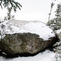 This boulder on the summit of Dial Mountain provides nice views.- Nippletop + Dial Mountains