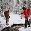 Stream crossing en route to Willard Mountain.- Mount Willard: Winter Hike