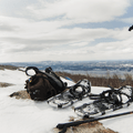 Snowshoes at the summit.- Mount Beacon Fire Tower