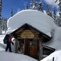 Front of the Maiden Peak Cabin.- Maiden Peak Cabin Snowshoe via Gold Lake Sno-Park