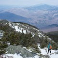 Heading back down from the summit.- Camels Hump Via The Burrows Trail