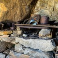 Original artifacts in the stone cabin.- Eagle Cliff Mine Hike