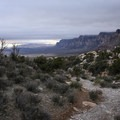Looking back at views over the Red Rock Canyon National Recreation Area.- Keystone Thrust