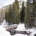The large bridge at the trailhead.- Secret Falls Snowshoe
