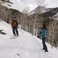 Be sure to keep your ears open for skiers along this trail.- Secret Falls Snowshoe