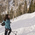 Enjoying a beautiful day along the Secret Falls Snowshoe.- Secret Falls Snowshoe