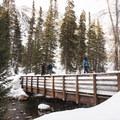 The bridge over Little Cottonwood Creek.- Secret Falls Snowshoe