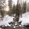 Sunset over Little Cottonwood Creek.- Secret Falls Snowshoe