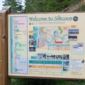 Inforamtion sign for the Siltcoos region of the Oregon Dunes National Recreation Area.- Lodgepole Picnic Area
