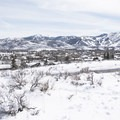 Looking back at Park City Mountain and Deer Valley Ski Resorts.- Round Valley Trails, Cove Trailhead