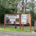 Information signs at entrance of Lagoon Campground.- Lagoon Campground