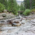 Ptarmigan Falls, Ptarmigan Creek Bridge.- Ptarmigan Tunnel Hike via Lake Elizabeth Foot Campground