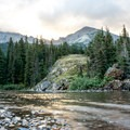 Sunrise at Elizabeth Lake in Glacier National Park.- Ptarmigan Tunnel Hike via Lake Elizabeth Foot Campground