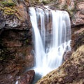 Dawn Mist Falls in Glacier National Park.- Ptarmigan Tunnel Hike via Lake Elizabeth Foot Campground