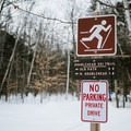 The first sign at the trailhead. Parking is allowed on the road.- Doublehead Mountain