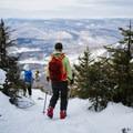 Walking to the ledge overlooking the White Mountains.- Doublehead Mountain
