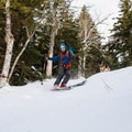 The ski trail has a few steep spots.- Doublehead Mountain