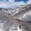 The trail heads north to start before cutting west.- Rattlesnake Gulch