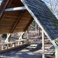 Picnic shelter along the Couchville Lake Trail.- Couchville Lake