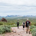 The Treasure Loop Trail is a moderate day hike at the base of the Superstition Mountains.- Treasure Loop Trail