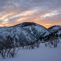 Sunrise over Lambs Canyon seen from the skintrack.- Mount Aire Backcountry Ski