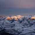 Sunrise over the Wasatch foothills, seen from the skintrack.- Mount Aire Backcountry Ski