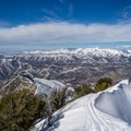 Skinning along the north summit ridge.- Mount Aire Backcountry Ski