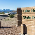 Lake Havasu State Park entrance.- Lake Havasu State Park Campground