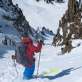Scoping the crux of Shit for Brains Couloir.- Black Mountain: Shit for Brains Couloir