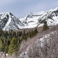 A view of where you will be hiking as seen from the drive up.- Stewart Falls + Honeymoon Meadow Snowshoe
