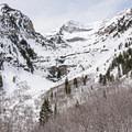 The impressive cirque on the Stewart Falls snowshoe.- Stewart Falls + Honeymoon Meadow Snowshoe