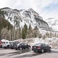 Parking lot for Stewart Falls and Honeymoon Meadow. - Stewart Falls + Honeymoon Meadow Snowshoe