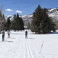 Cross-country skiing is a great workout.- White Pine Nordic Center