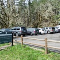 Parking area at the Fox Hollow Trailhead.- Ridgeline Trail System: Fox Hollow Trailhead