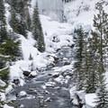 Tumalo Creek from the lower viewpoint.- Tumalo Falls Nordic Loop via Skyliner Sno-Park