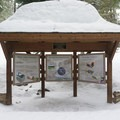 A snow covered kiosk at the lower viewpoint.- Tumalo Falls Nordic Loop via Skyliner Sno-Park