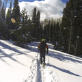 Snowshoeing in the sunshine.- Hahns Peak Lake Area