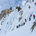 Lee Vining can be crowded on the weekend.- Lee Vining Ice Climbing Area