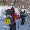 Hiking to the wall at Lee Vining.- Lee Vining Ice Climbing Area