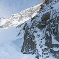 Climbers make their way up the bowl at Lee Vining.- Lee Vining Ice Climbing Area