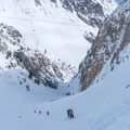 A steady stream of climbers make their way to Lee Vining.- Lee Vining Ice Climbing Area