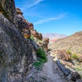 Sedimentary rock towering over the Fossil Canyon Trail.- Las Vegas Overlook Trail