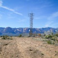 To continue on the loop route, from the overlook point, head toward the radio tower.- Las Vegas Overlook Trail