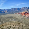 A view over the Red Rock Canyon National Conservation Area and visitor center.- Las Vegas Overlook Trail