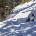 Steep climb through the snow.- Crater Lakes via East Portal Trailhead